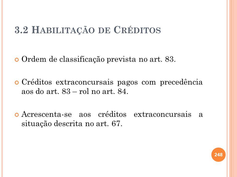 3.2 Habilitação de Créditos