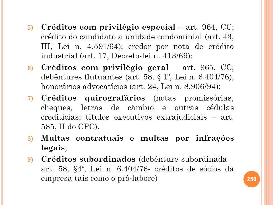Créditos com privilégio especial – art