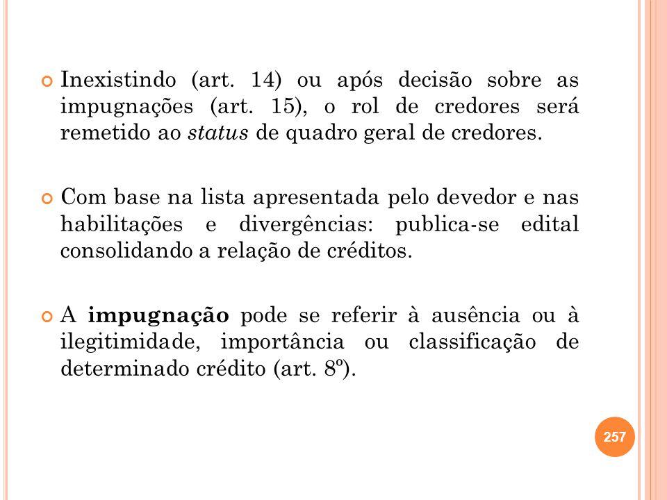 Inexistindo (art. 14) ou após decisão sobre as impugnações (art