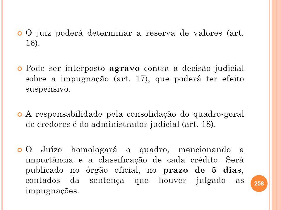 O juiz poderá determinar a reserva de valores (art. 16).