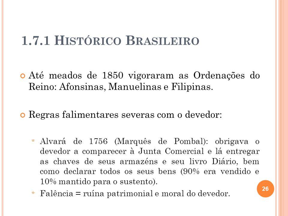 1.7.1 Histórico Brasileiro Até meados de 1850 vigoraram as Ordenações do Reino: Afonsinas, Manuelinas e Filipinas.