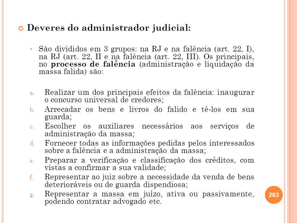 Deveres do administrador judicial: