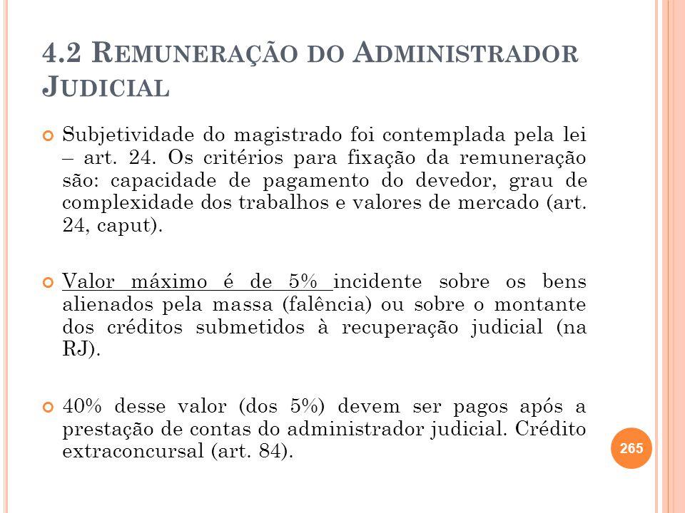 4.2 Remuneração do Administrador Judicial