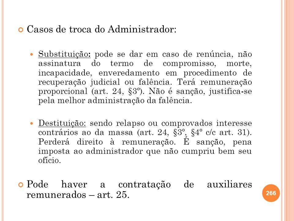 Casos de troca do Administrador: