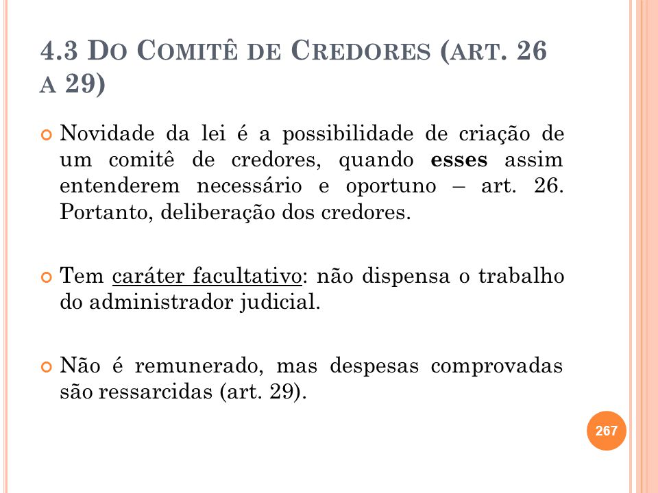 4.3 Do Comitê de Credores (art. 26 a 29)