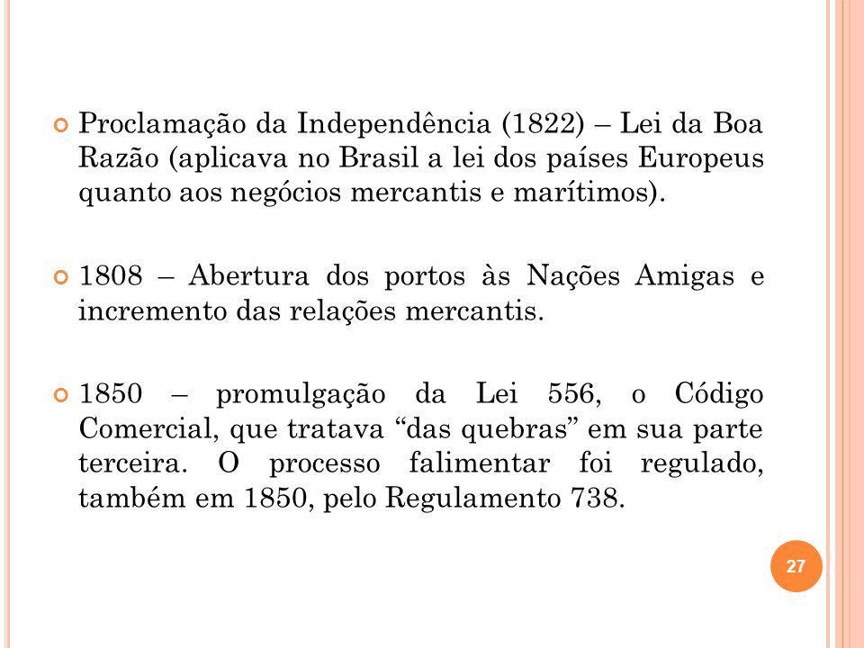 Proclamação da Independência (1822) – Lei da Boa Razão (aplicava no Brasil a lei dos países Europeus quanto aos negócios mercantis e marítimos).