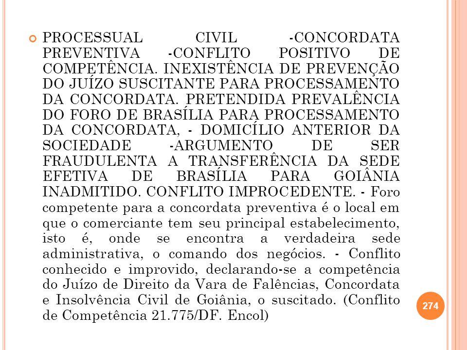 PROCESSUAL CIVIL -CONCORDATA PREVENTIVA -CONFLITO POSITIVO DE COMPETÊNCIA.