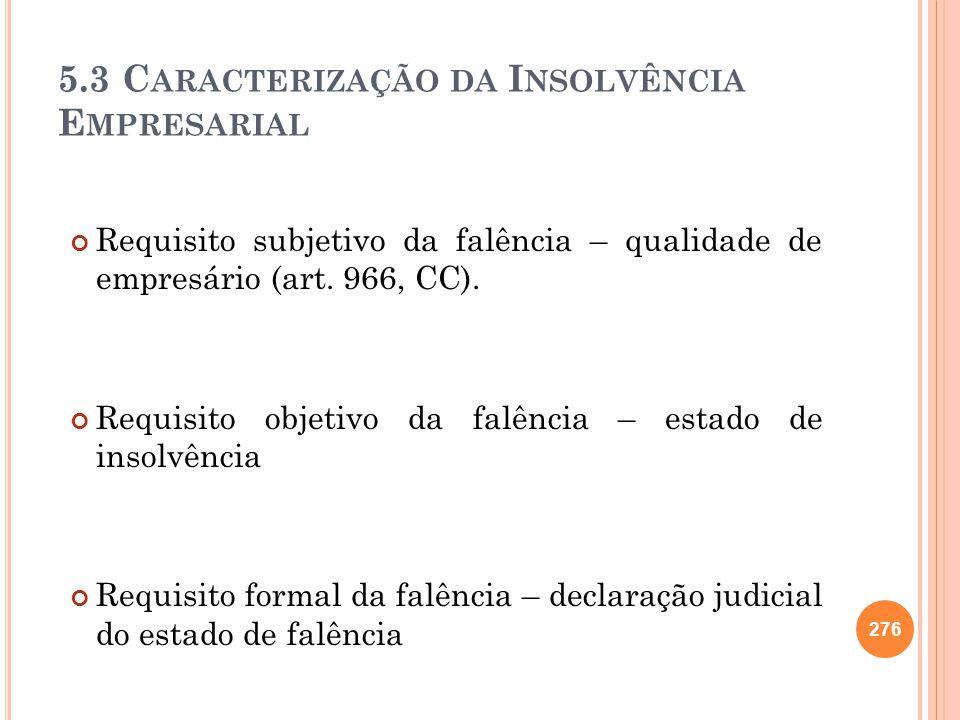 5.3 Caracterização da Insolvência Empresarial