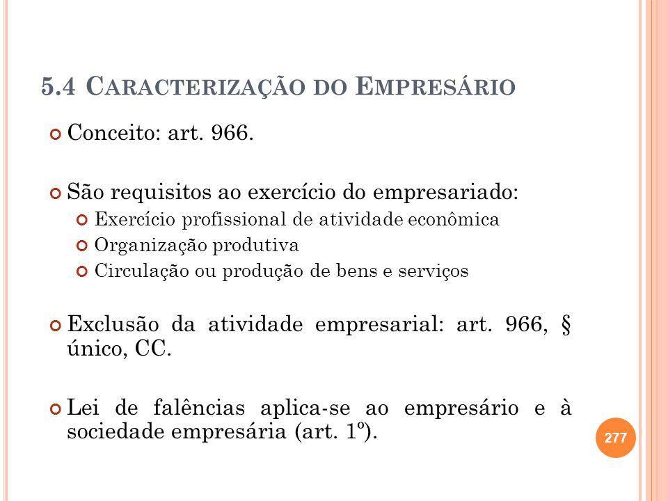5.4 Caracterização do Empresário