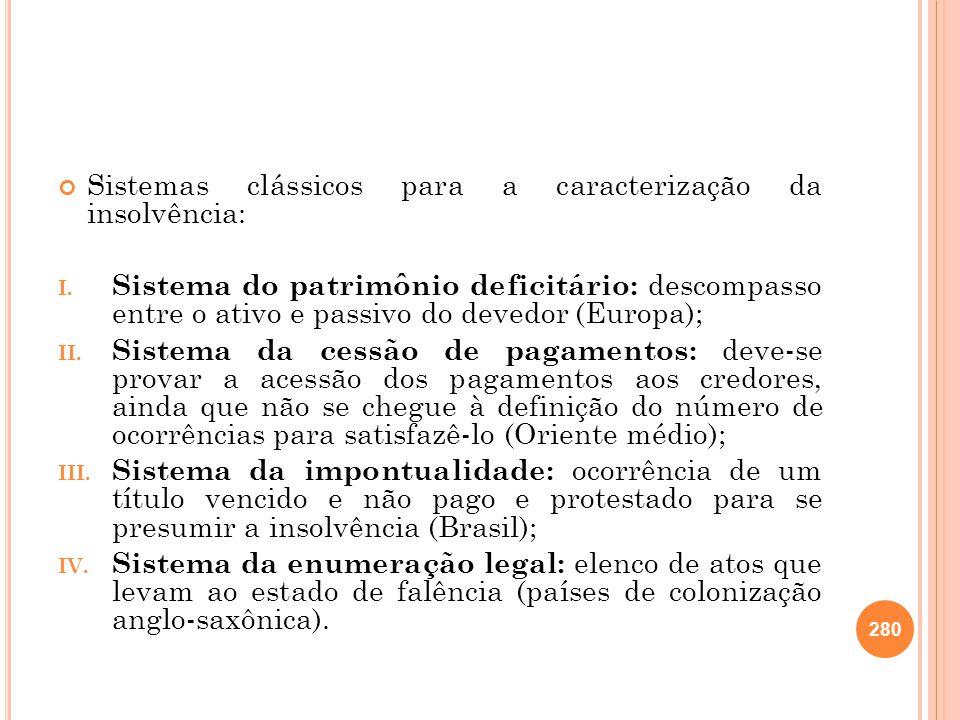 Sistemas clássicos para a caracterização da insolvência:
