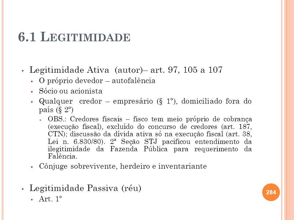 6.1 Legitimidade Legitimidade Ativa (autor)– art. 97, 105 a 107