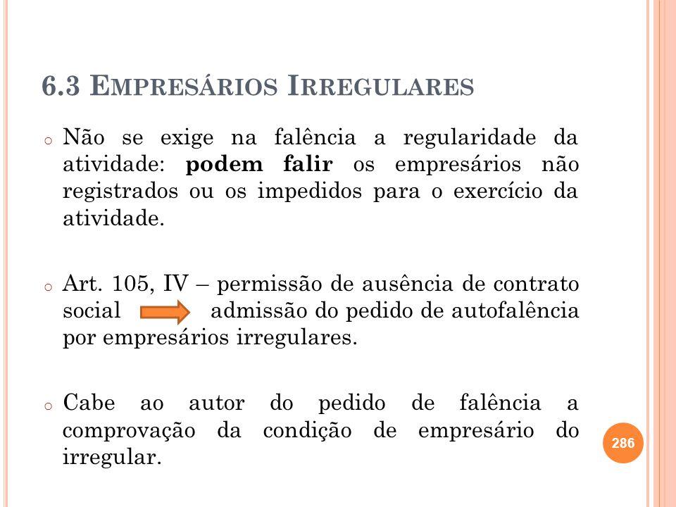 6.3 Empresários Irregulares