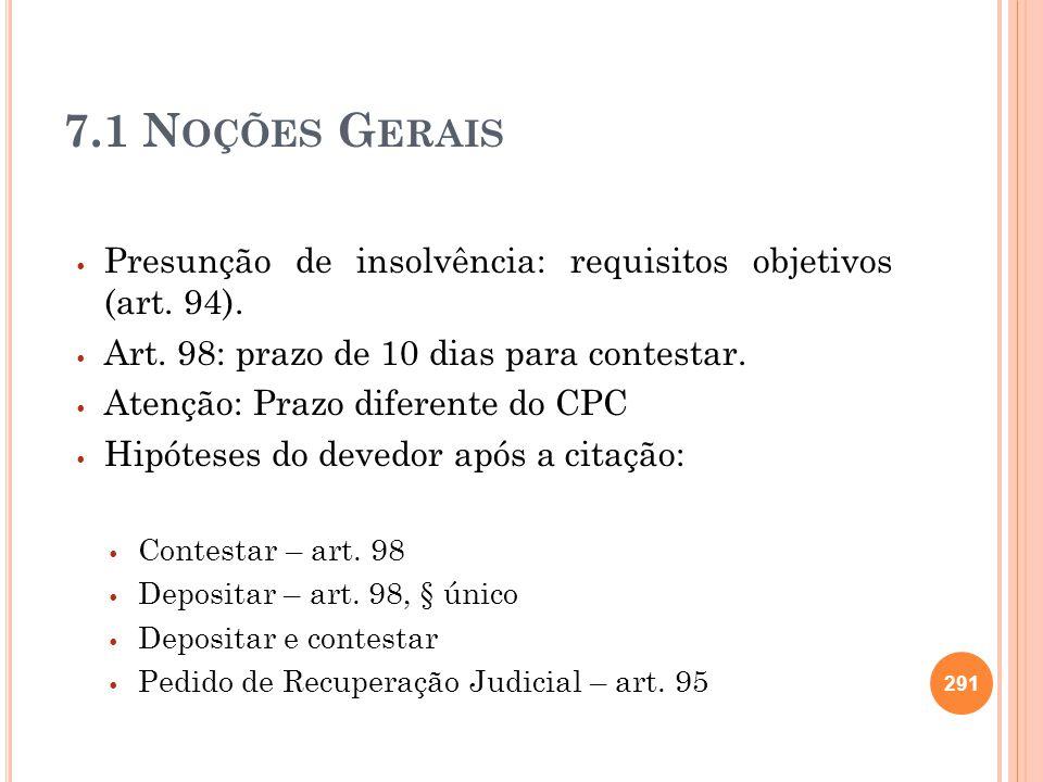 7.1 Noções Gerais Presunção de insolvência: requisitos objetivos (art. 94). Art. 98: prazo de 10 dias para contestar.