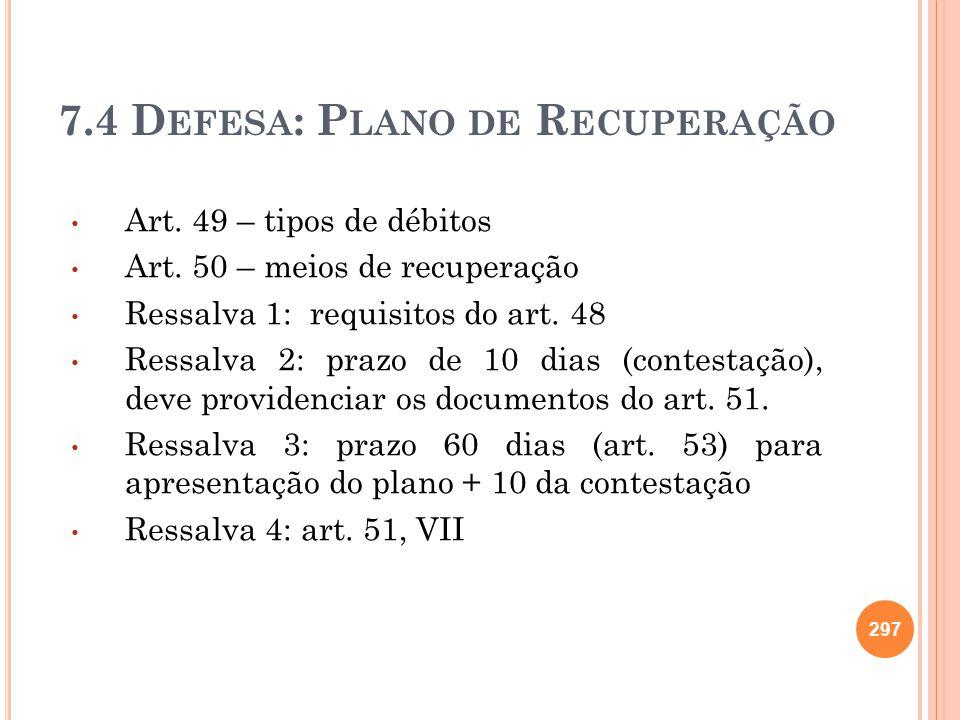 7.4 Defesa: Plano de Recuperação