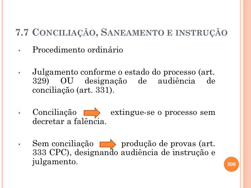 7.7 Conciliação, Saneamento e instrução