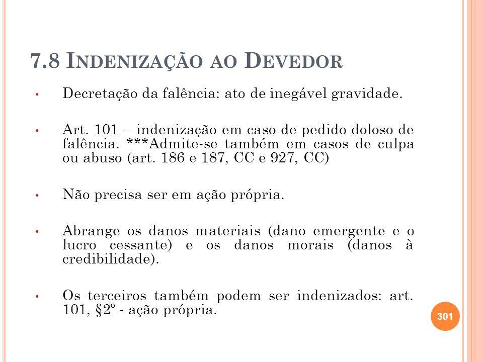 7.8 Indenização ao Devedor