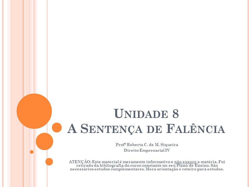 Unidade 8 A Sentença de Falência