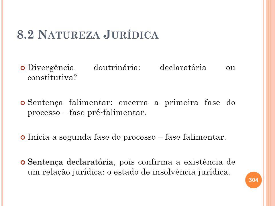 8.2 Natureza Jurídica Divergência doutrinária: declaratória ou constitutiva