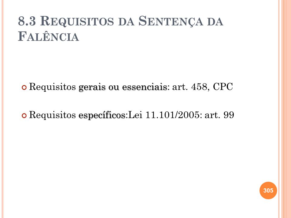 8.3 Requisitos da Sentença da Falência