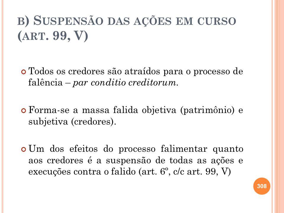 b) Suspensão das ações em curso (art. 99, V)