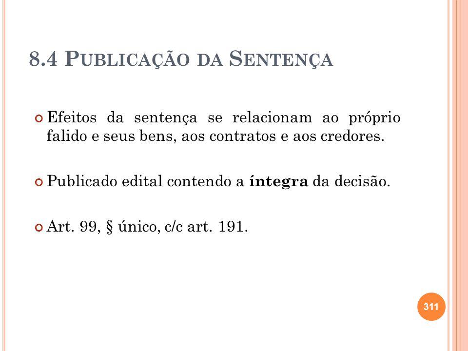 8.4 Publicação da Sentença