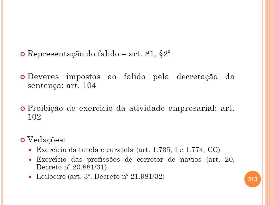 Representação do falido – art. 81, §2º