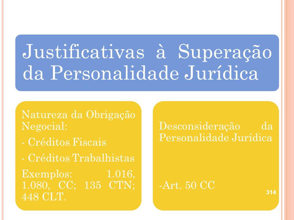 Justificativas à Superação da Personalidade Jurídica