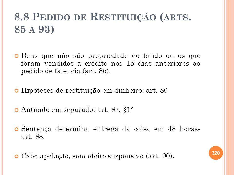 8.8 Pedido de Restituição (arts. 85 a 93)