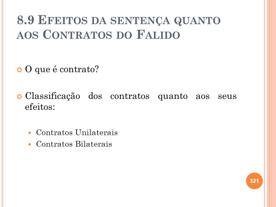 8.9 Efeitos da sentença quanto aos Contratos do Falido