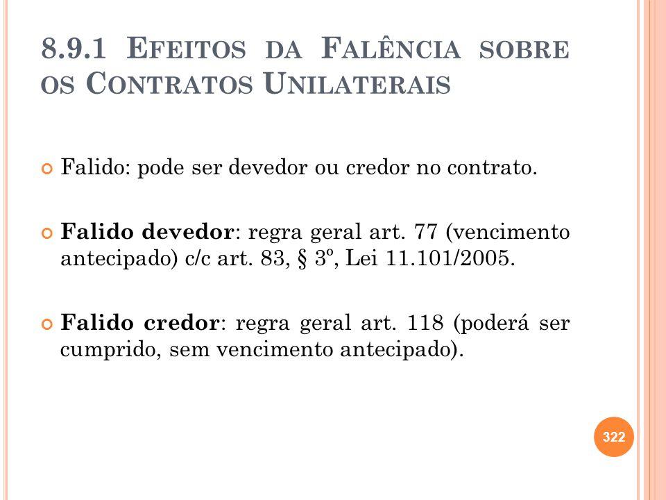 8.9.1 Efeitos da Falência sobre os Contratos Unilaterais