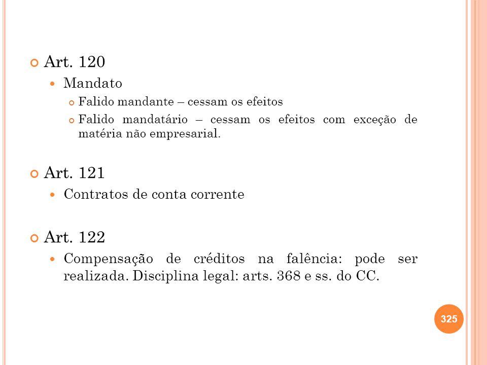 Art. 120 Art. 121 Art. 122 Mandato Contratos de conta corrente