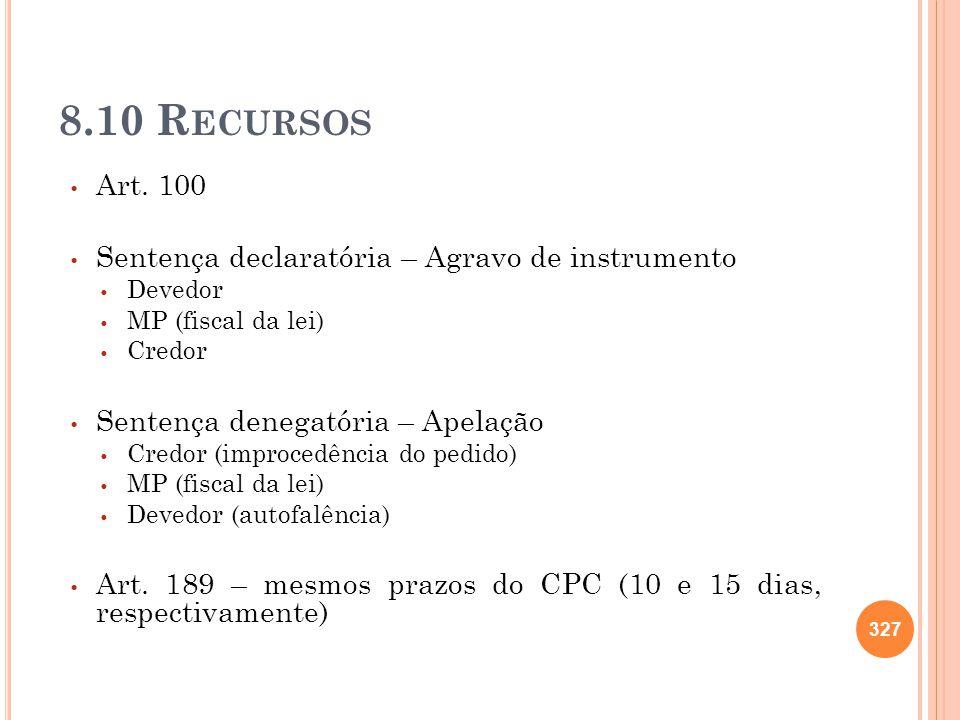 8.10 Recursos Art. 100 Sentença declaratória – Agravo de instrumento