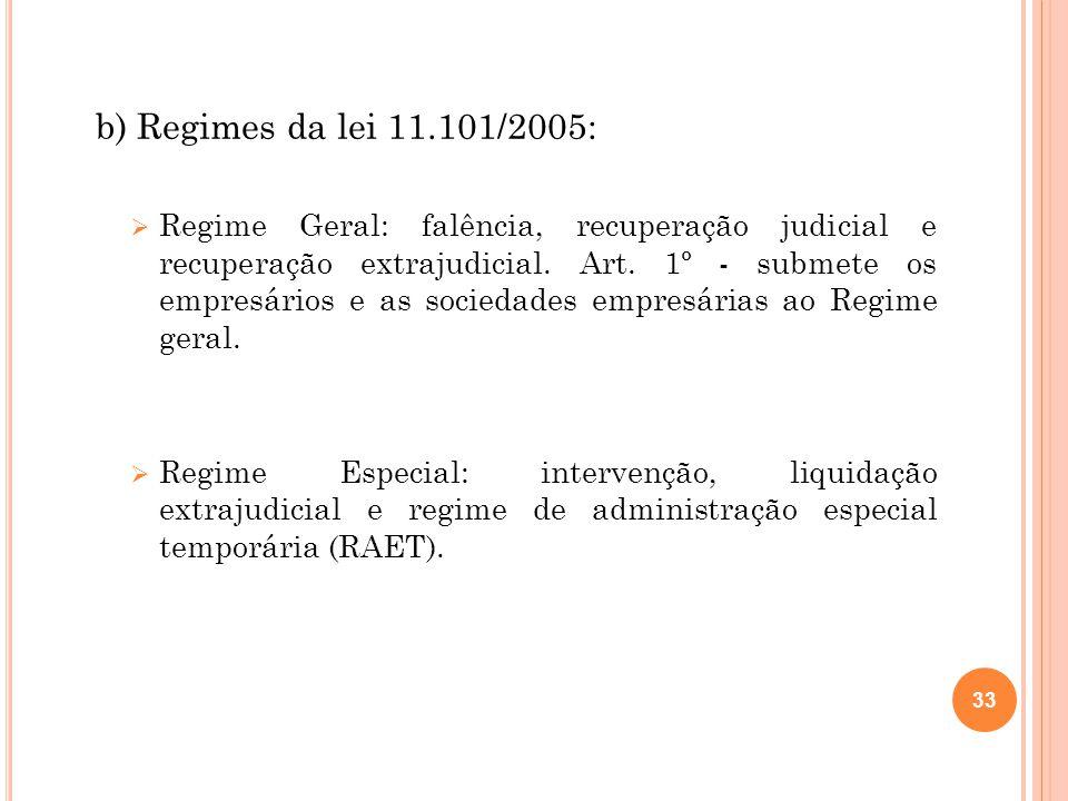 b) Regimes da lei 11.101/2005: