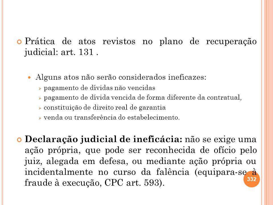 Prática de atos revistos no plano de recuperação judicial: art. 131 .