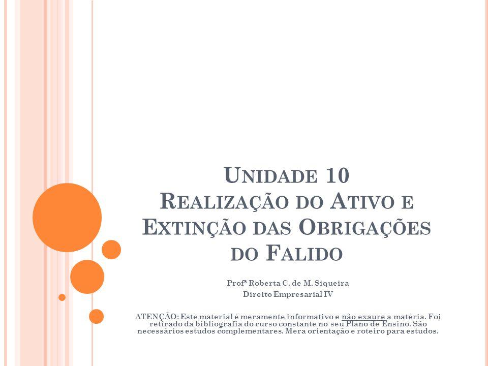 Unidade 10 Realização do Ativo e Extinção das Obrigações do Falido