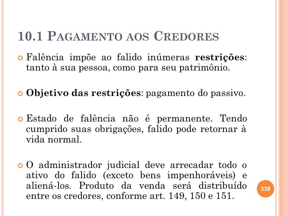 10.1 Pagamento aos Credores
