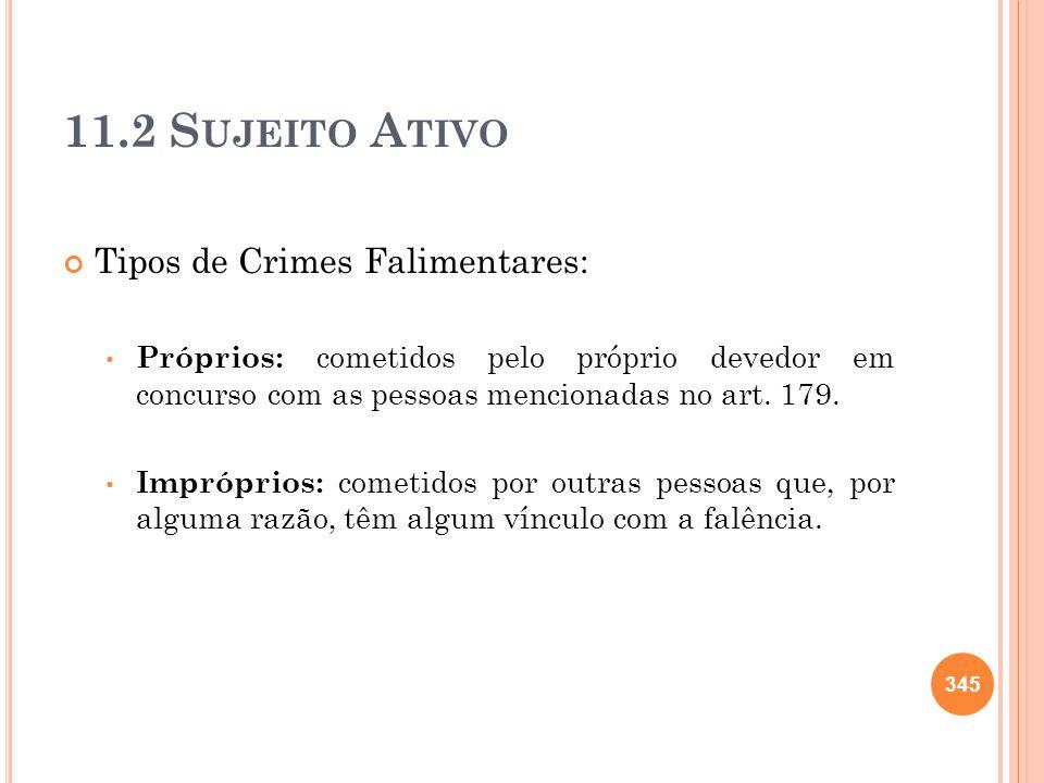 11.2 Sujeito Ativo Tipos de Crimes Falimentares: