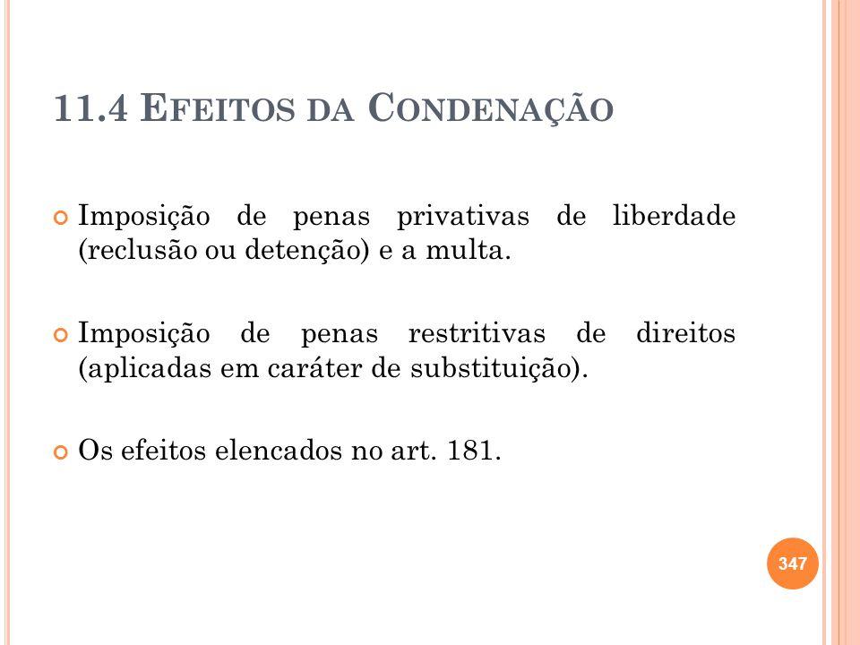 11.4 Efeitos da Condenação Imposição de penas privativas de liberdade (reclusão ou detenção) e a multa.