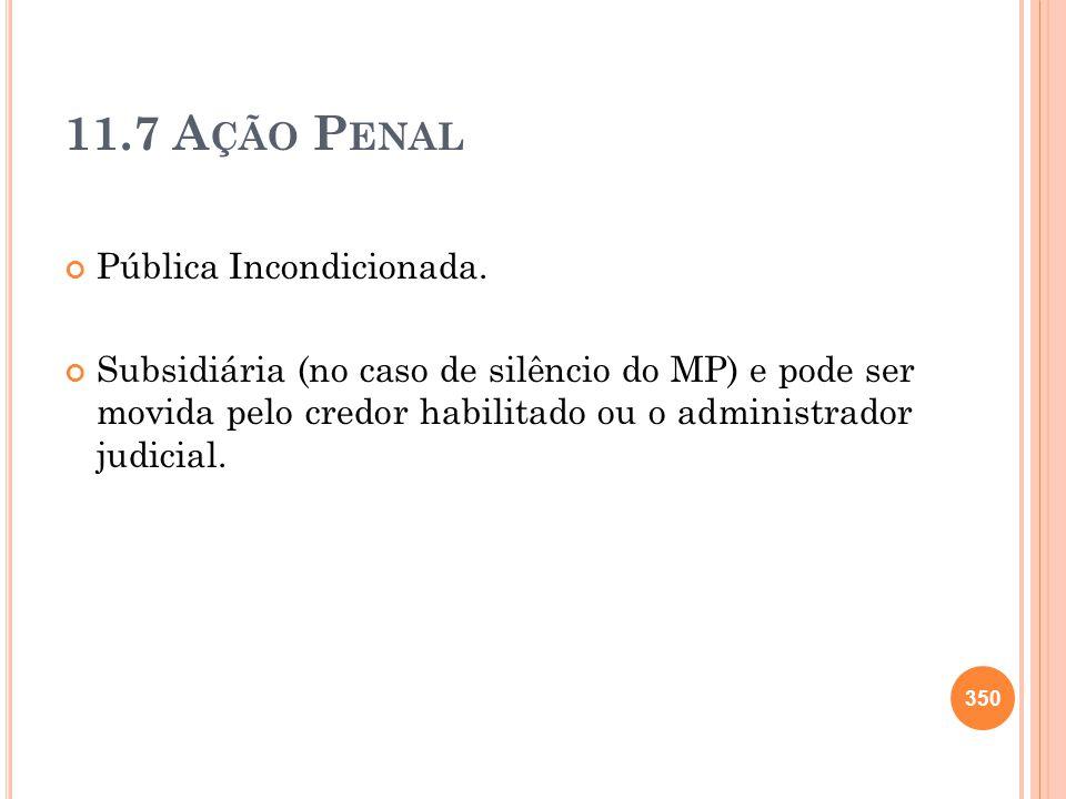 11.7 Ação Penal Pública Incondicionada.