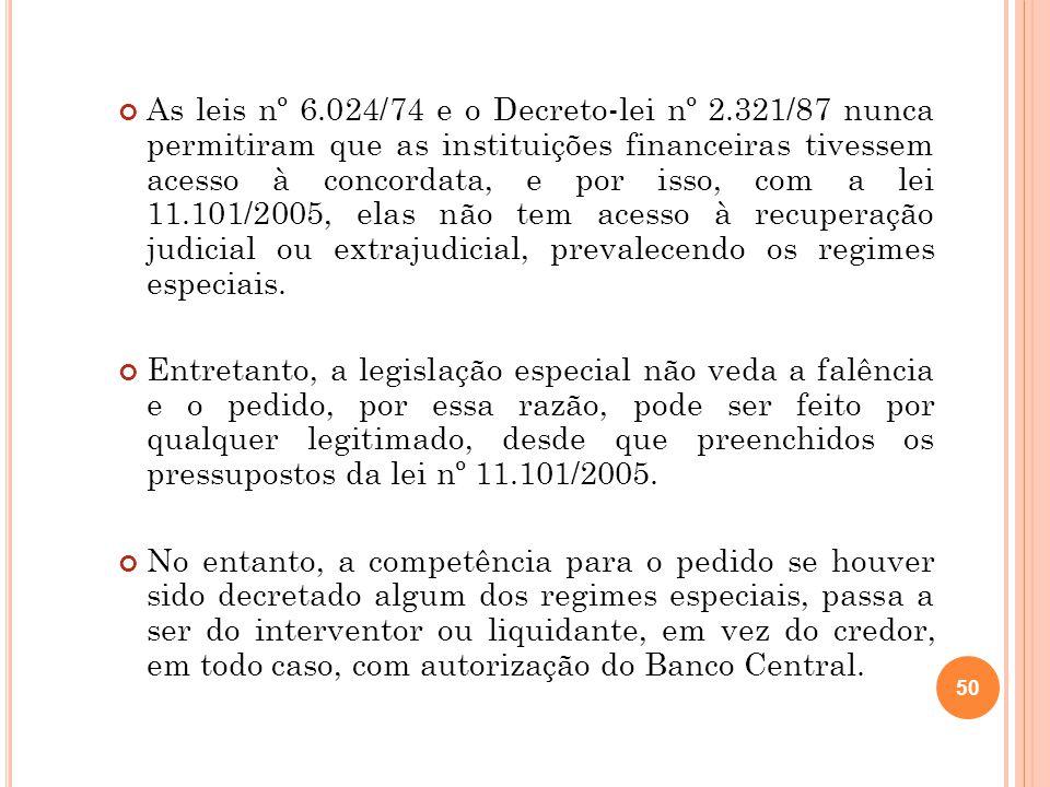 As leis nº 6. 024/74 e o Decreto-lei nº 2