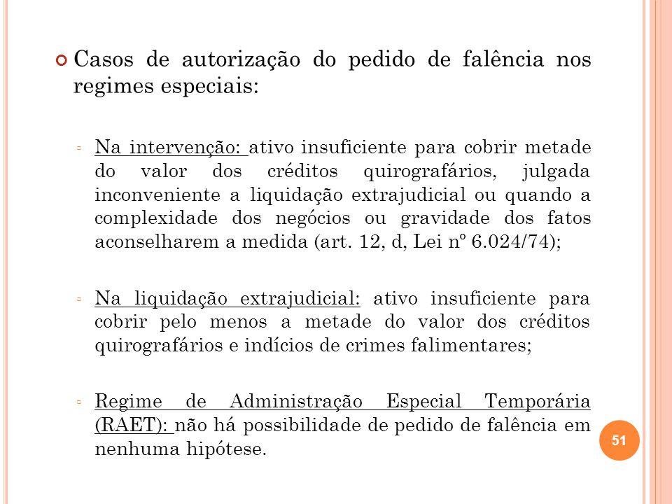 Casos de autorização do pedido de falência nos regimes especiais: