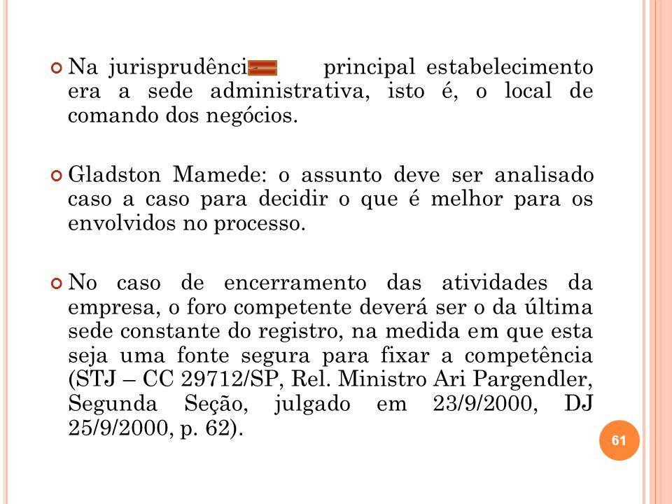 Na jurisprudência principal estabelecimento era a sede administrativa, isto é, o local de comando dos negócios.