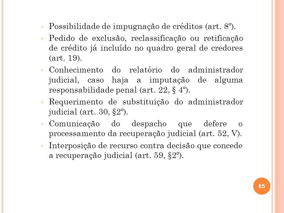 Possibilidade de impugnação de créditos (art. 8º).
