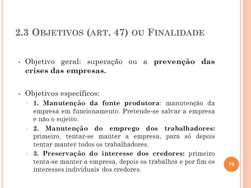 2.3 Objetivos (art. 47) ou Finalidade