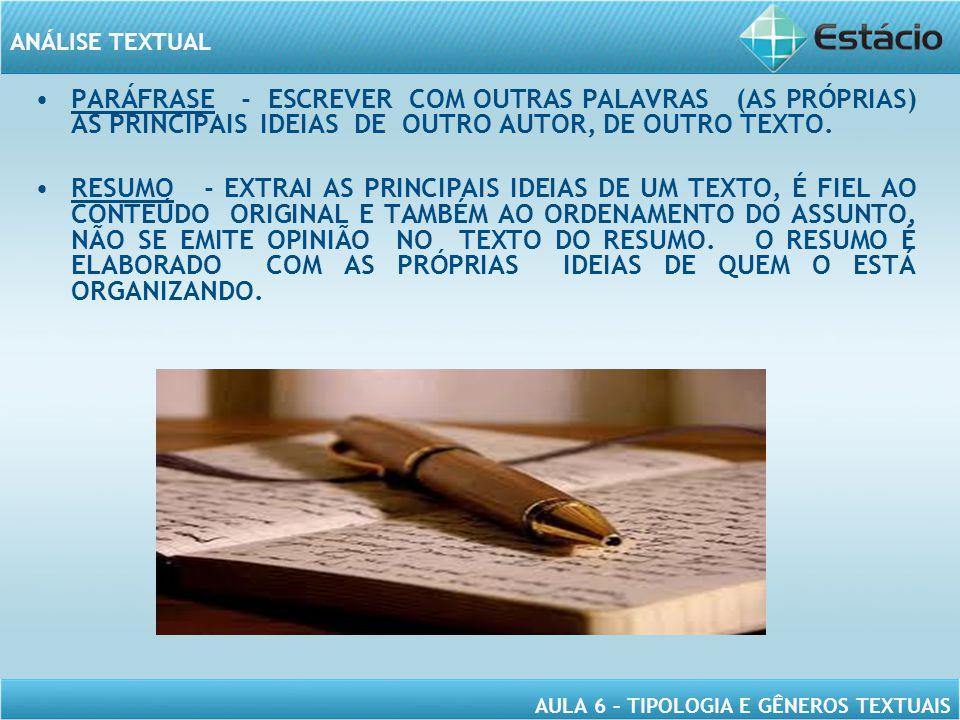PARÁFRASE - ESCREVER COM OUTRAS PALAVRAS (AS PRÓPRIAS) AS PRINCIPAIS IDEIAS DE OUTRO AUTOR, DE OUTRO TEXTO.