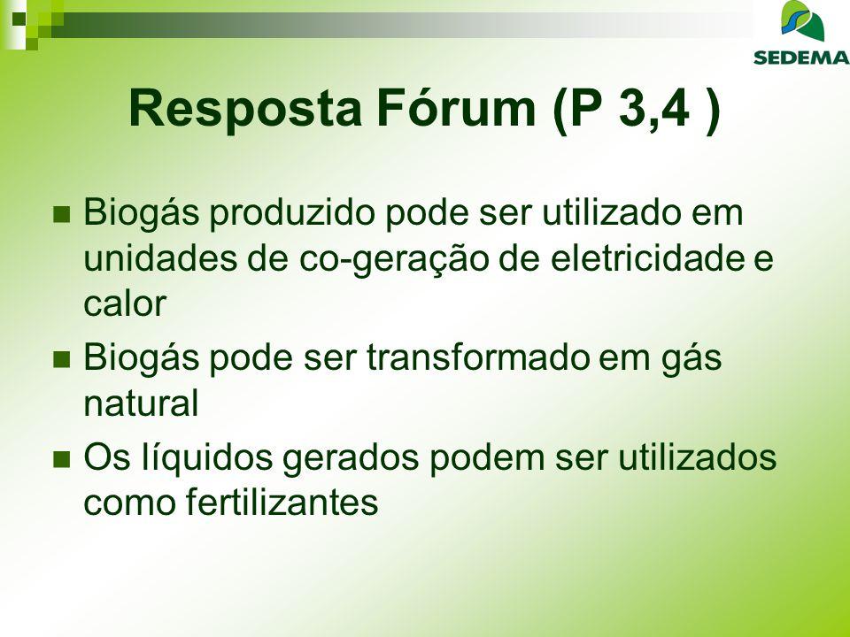 Resposta Fórum (P 3,4 ) Biogás produzido pode ser utilizado em unidades de co-geração de eletricidade e calor.