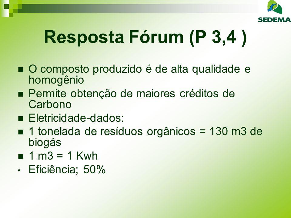 Resposta Fórum (P 3,4 ) O composto produzido é de alta qualidade e homogênio. Permite obtenção de maiores créditos de Carbono.