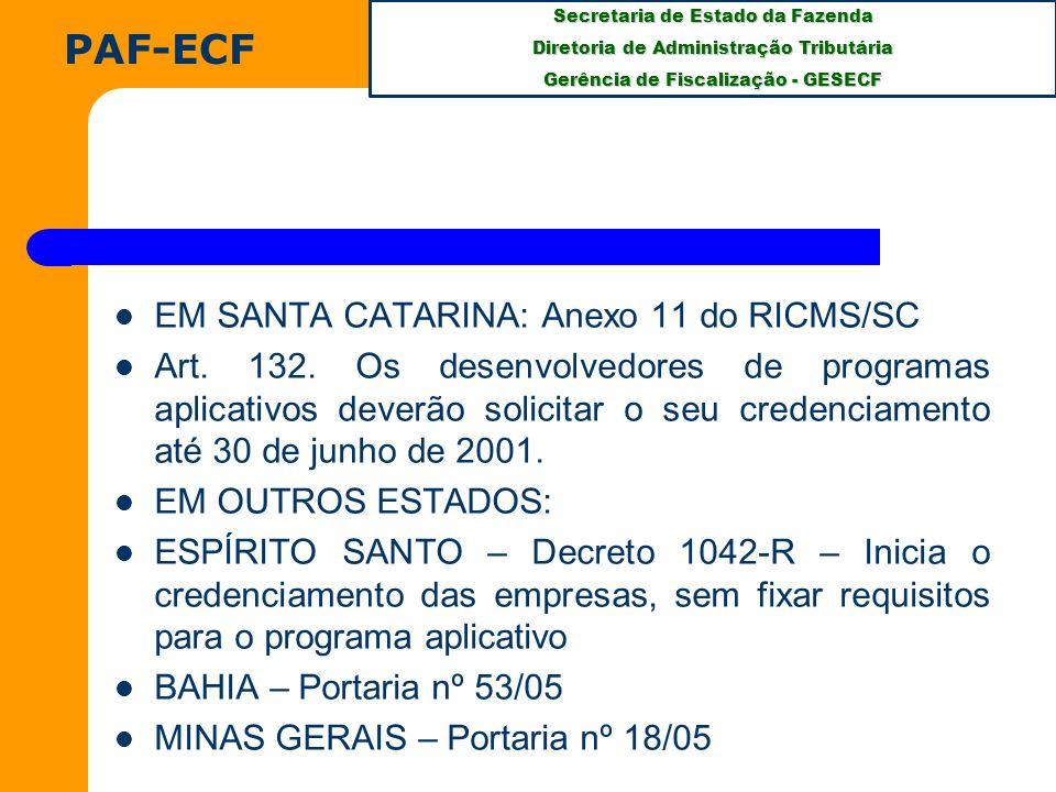 PAF-ECF EM SANTA CATARINA: Anexo 11 do RICMS/SC