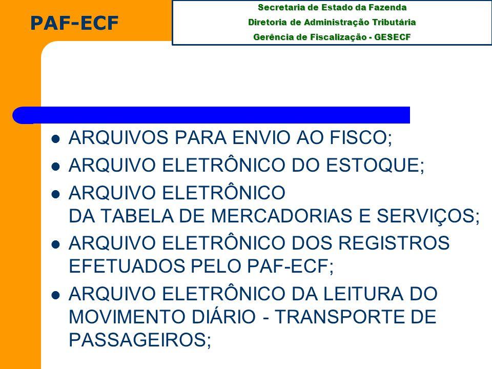 PAF-ECF ARQUIVOS PARA ENVIO AO FISCO; ARQUIVO ELETRÔNICO DO ESTOQUE; ARQUIVO ELETRÔNICO DA TABELA DE MERCADORIAS E SERVIÇOS;