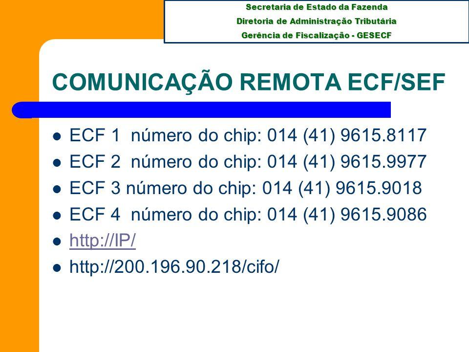 COMUNICAÇÃO REMOTA ECF/SEF
